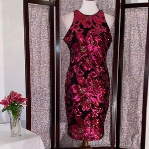 Cache black with red floral sequins party dress.